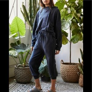 Free People slouch terry cloth Joggers navy shade
